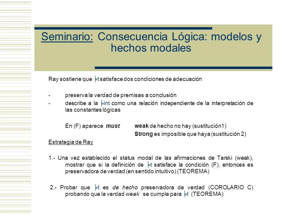 Seminario: Consecuencia Lógica: modelos y hechos modales Objetivos de Ray Argumentar que Etchemendy se equivoca - al atribuirle a Tarski el haber cometido una falacia modal - al atribuirle a Tarski una concepción acerca de la consecuencia que es distinta a la concepción modelo teórica (mt es igual at) - al afirmar que para muchos lenguajes no hay modo de seleccionar la clase de expresiones lógicas que hagan que la definición de Tarski cumpla nuestras intuiciones acerca de la consecuencia.