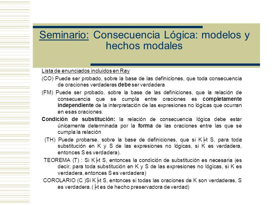 Seminario: Consecuencia Lógica: modelos y hechos modales Ray sostiene que t satisface dos condiciones de adecuación -preserva la verdad de premisas a conclusión -describe a la int como una relación independiente de la interpretación de las constantes lógicas En (F) aparece must weak de hecho no hay (sustitución1) Strong es imposible que haya (sustitución 2) Estrategia de Ray 1.- Una vez establecido el status modal de las afirmaciones de Tarski (weak), mostrar que si la definición de t satisface la condición (F), entonces es preservadora de verdad (en sentido intuitivo) (TEOREMA) 2.- Probar que t es de hecho preservadora de verdad (COROLARIO C) probando que la verdad weak se cumple para t (TEOREMA)