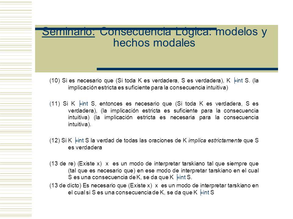 Seminario: Consecuencia Lógica: modelos y hechos modales Definición de Ray de F-consecuencia S es una F-consecuencia de K (K t S) ssi Secuencia que satisface K, también satisface A (Para todo modo de interpretar tarskiano) Lista de enunciados para la presunta falacia modal (8) K int S sss F tal que S es una F consecuencia de K (8L) Si K int S, entonces F tal que S es una F consecuencia de K (Existe un modo de interpretación tarskiano, tal que...