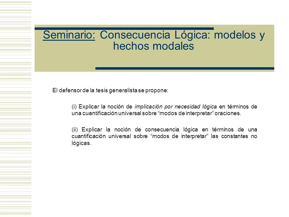Seminario: Consecuencia Lógica: modelos y hechos modales Diferentes maneras de entender modo de interpretar Las definiciones tarskianas proponen K int