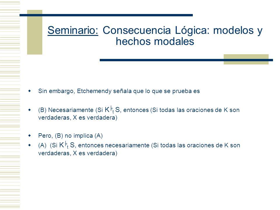 Seminario: Consecuencia Lógica: modelos y hechos modales Reconstrucción del presunto argumento Tarskiano: Hay que probar K t S S es implicada necesariamente por K Supongamos (i) K t S Y (ii) S no es implicada necesariamente por K (iii) Si S no es implicada necesariamente por K, hay un argumento que va de K´ a S´ en el cual K´es verdadera, y S es falsa (de (ii) ) (iv) I, tal que I(K) es actualmente verdadera y I(S) es actualmente falsa.