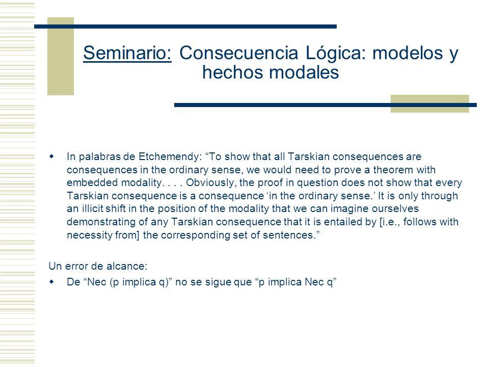 Seminario: Consecuencia Lógica: modelos y hechos modales Sin embargo, Etchemendy señala que lo que se prueba es (B) Necesariamente (Si K t S, entonces