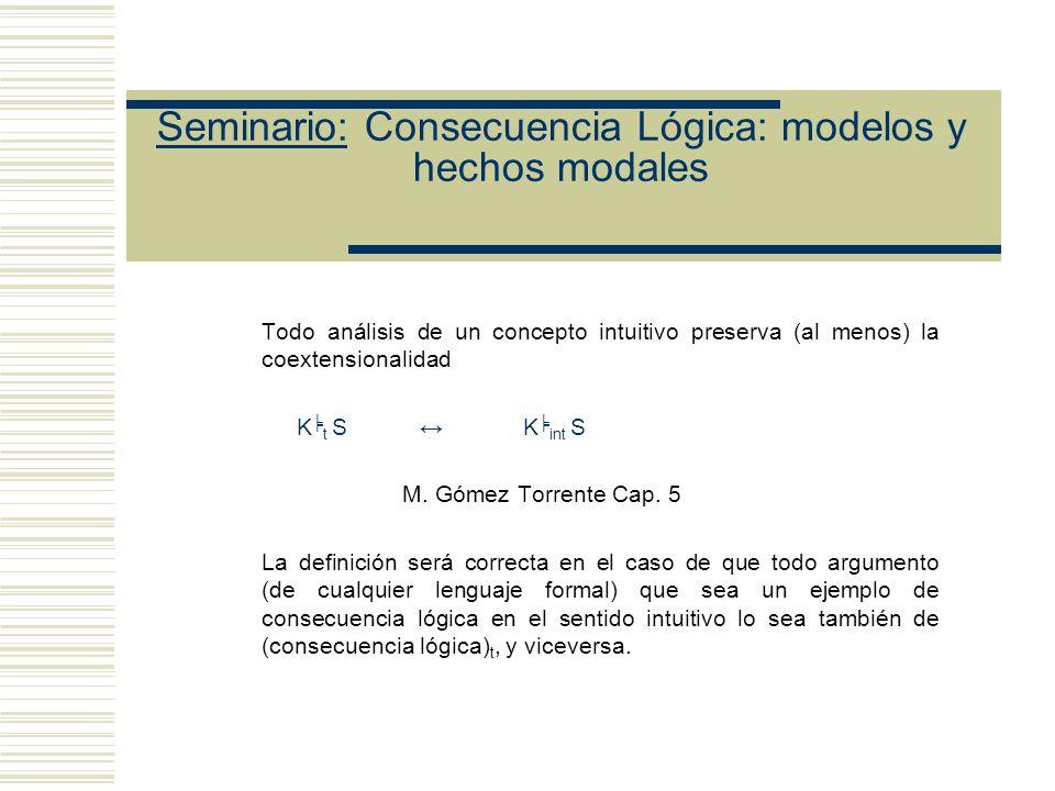 Seminario: Consecuencia Lógica: modelos y hechos modales Posición de Etchemendy: (1) Tarski dio un argumento a favor de la tesis se gún la cual su análisis del concepto intuitivo de consecuencia captura el componente modal.