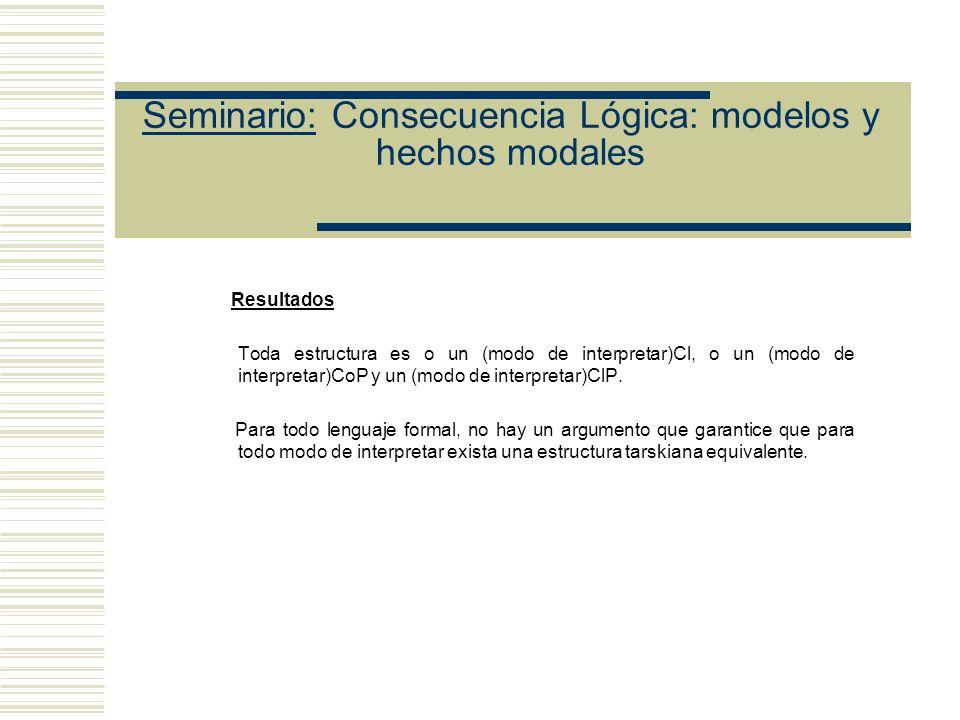 Seminario: Consecuencia Lógica: modelos y hechos modales (4) Entender modo de interpretar como estructura cuyo dominio es una clase de objetos posible