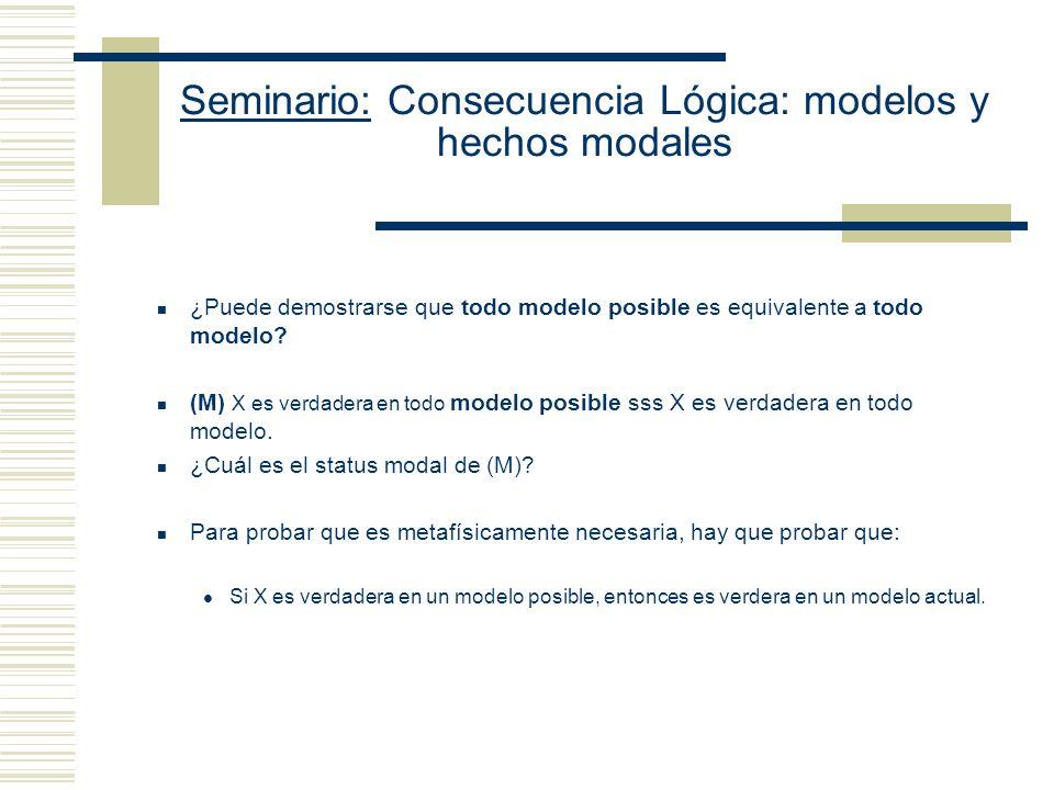 Seminario: Consecuencia Lógica: modelos y hechos modales Dos problemas de la contingencia del análisis de la noción de consecuencia lógica en términos de generalización sobre modelos.