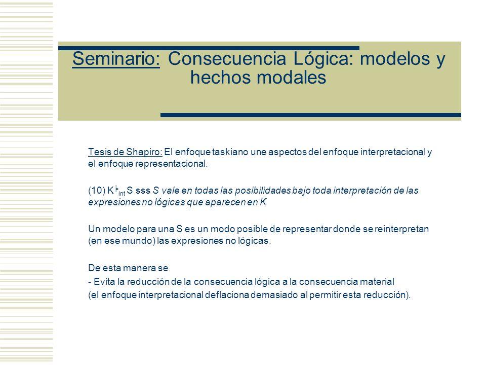 Seminario: Consecuencia Lógica: modelos y hechos modales Tesis de Shapiro: El enfoque taskiano une aspectos del enfoque interpretacional y el enfoque representacional.