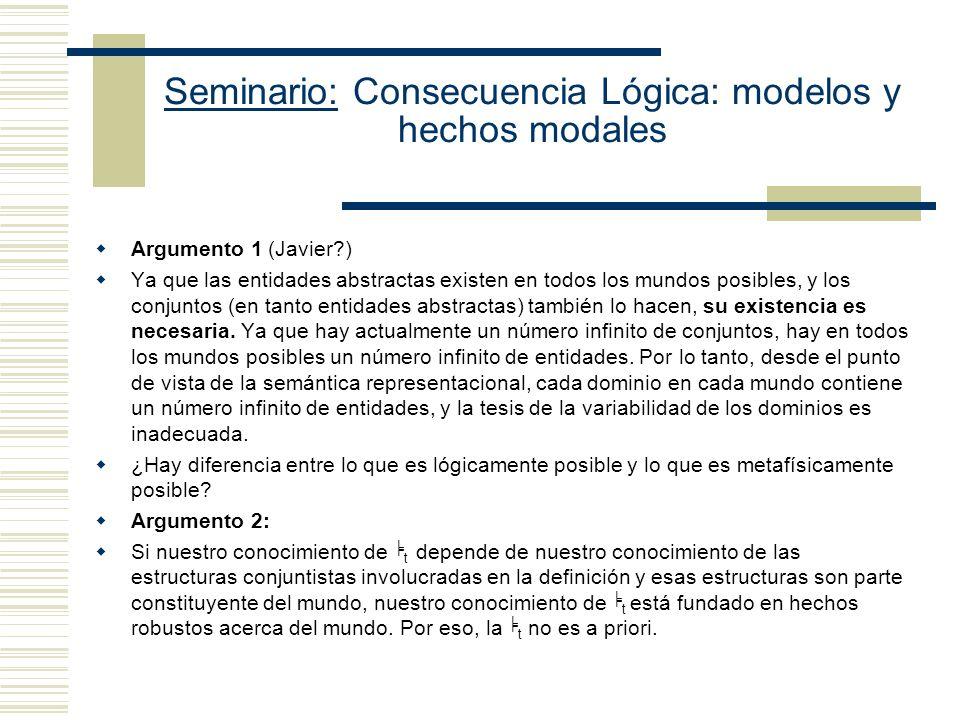 Seminario: Consecuencia Lógica: modelos y hechos modales Argumento 1 (Javier?) Ya que las entidades abstractas existen en todos los mundos posibles, y los conjuntos (en tanto entidades abstractas) también lo hacen, su existencia es necesaria.
