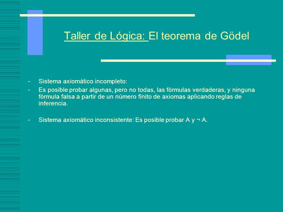 Taller de Lógica: El teorema de Gödel -Sistema axiomático incompleto: -Es posible probar algunas, pero no todas, las fórmulas verdaderas, y ninguna fórmula falsa a partir de un número finito de axiomas aplicando reglas de inferencia.