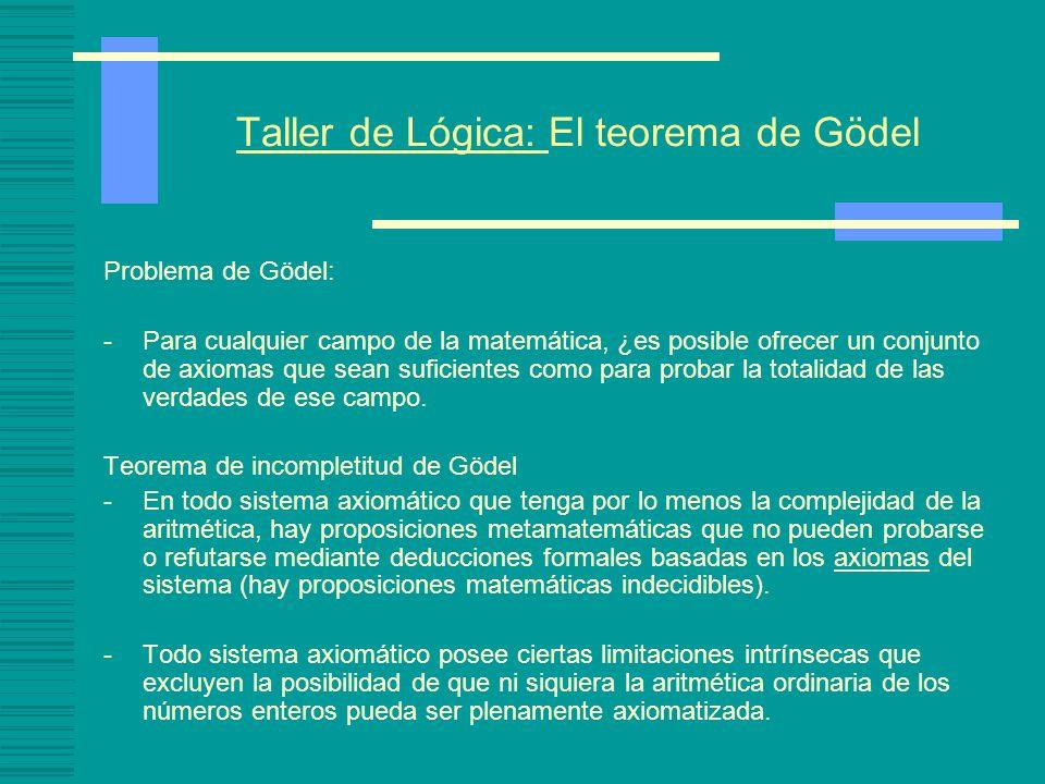 Taller de Lógica: El teorema de Gödel Problema de Gödel: -Para cualquier campo de la matemática, ¿es posible ofrecer un conjunto de axiomas que sean suficientes como para probar la totalidad de las verdades de ese campo.