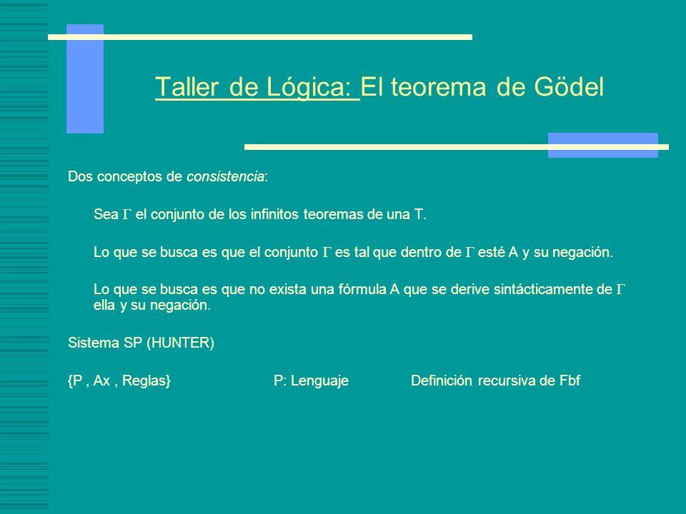Taller de Lógica: El teorema de Gödel Nociones relativas consistencia: Noción de consistencia respecto de la negación: Una T es consistente respecto de ¬ ssi no existe una derivación en S de A y su negación.