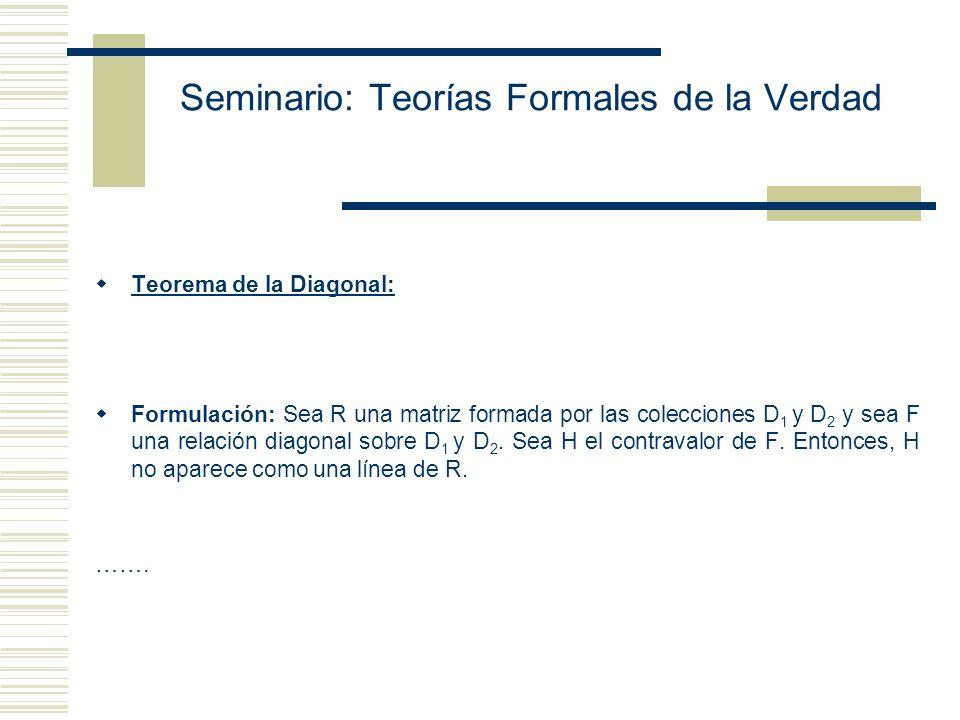 Seminario: Teorías Formales de la Verdad Argumentos Diagonales El principal intererés filosófico de los argumentos diagonales yace en su vinculación c