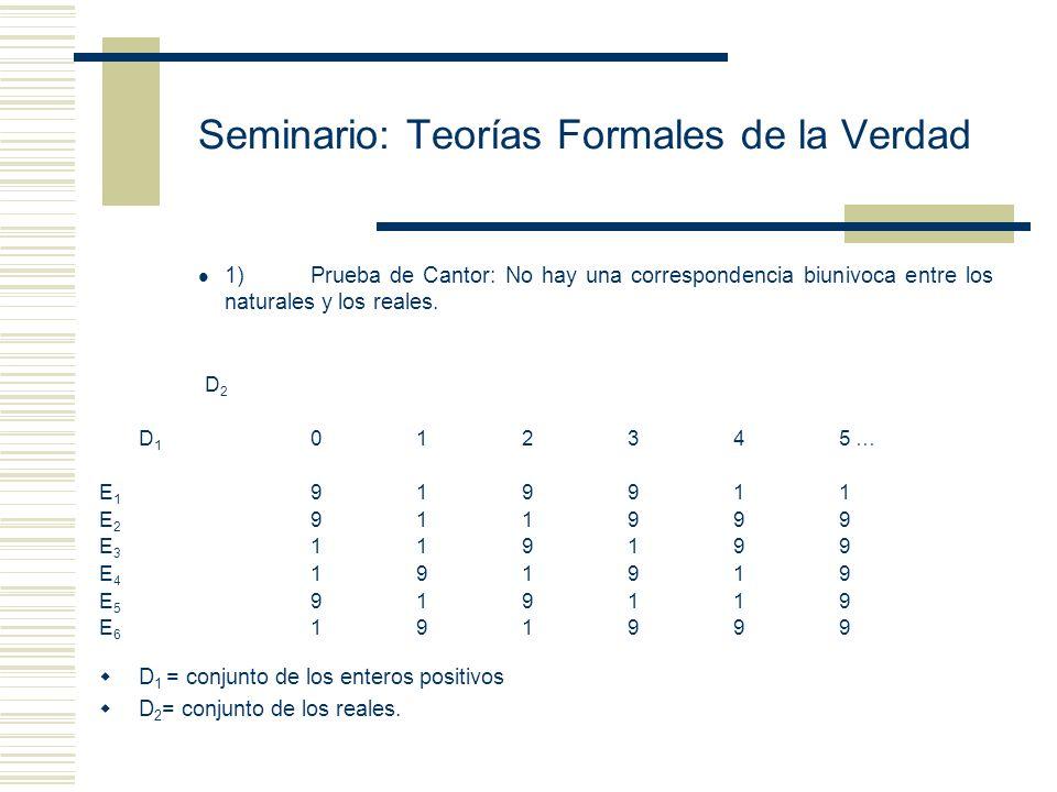 Seminario: Teorías Formales de la Verdad Teorema de la Diagonal: Formulación: Sea R una matriz formada por las colecciones D 1 y D 2 y sea F una relac