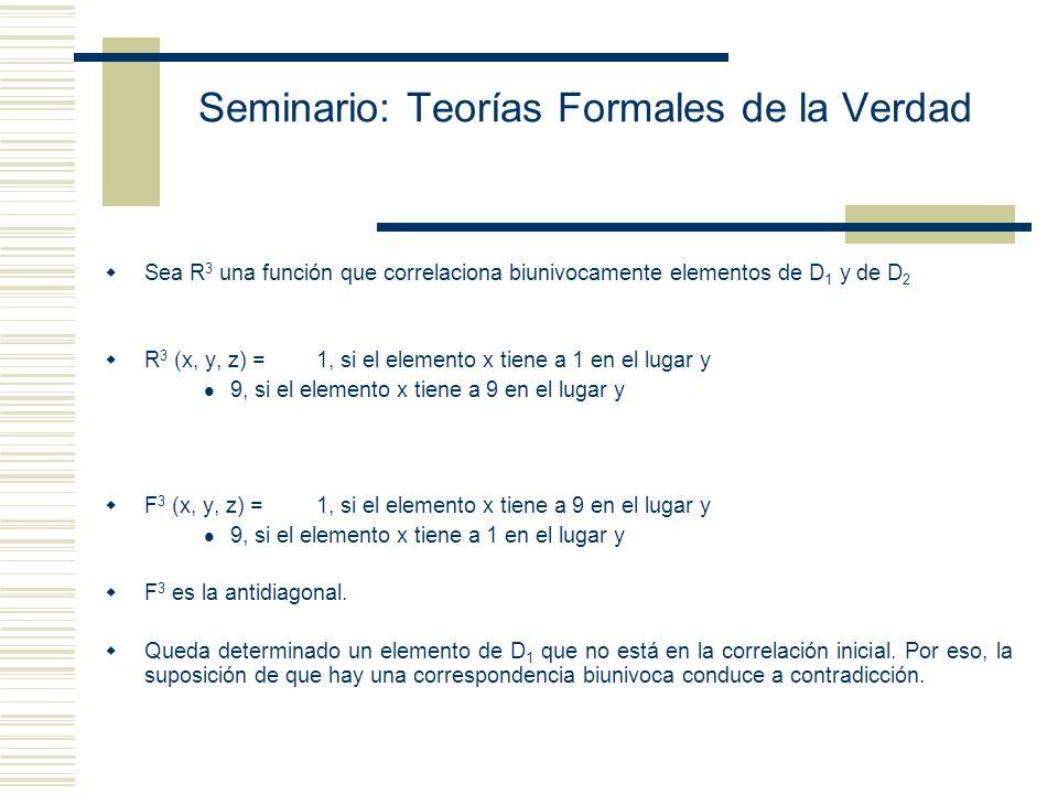 Seminario: Teorías Formales de la Verdad 1)Prueba de Cantor: No hay una correspondencia biunivoca entre los naturales y los reales. D 2 D 1 012345 … E