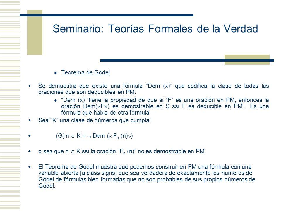 Seminario: Teorías Formales de la Verdad Teorema de la indefinibilidad de la verdad: No hay una fórmula True(x) que defina T*. Esto es, no hay una fór
