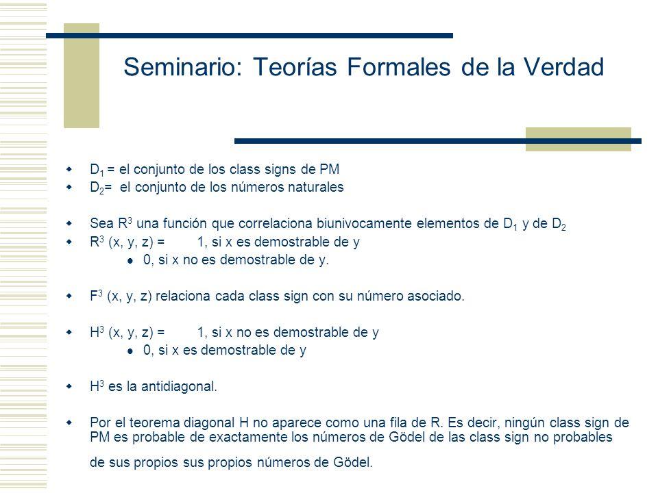 Seminario: Teorías Formales de la Verdad Teorema de Gödel Se demuestra que existe una fórmula Dem (x) que codifica la clase de todas las oraciones que