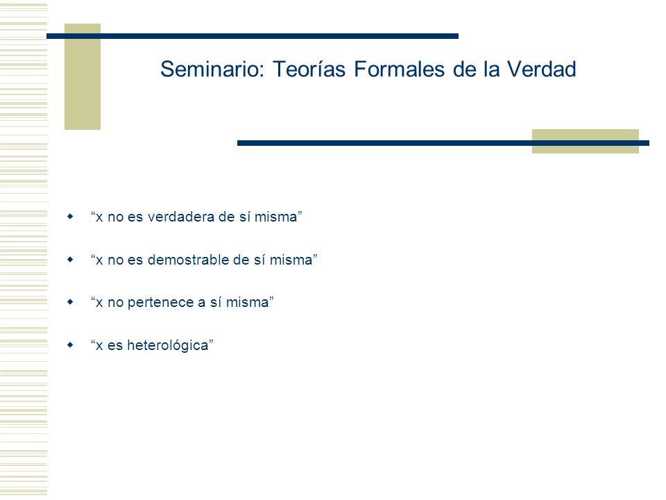 Seminario: Teorías Formales de la Verdad Reflexión sobre el Esquema de comprensión - y x (P(x) x y) y x (True(x) x y) (G) n K Dem ( « F n (n) » ) La i