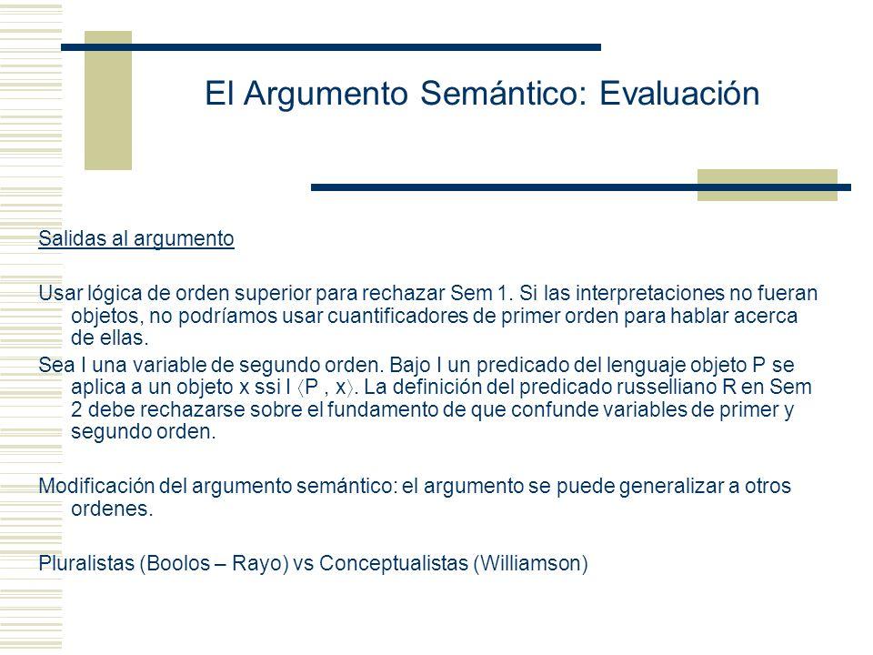 El Argumento Semántico: Evaluación ¿Qué prueba el argumento semántico.