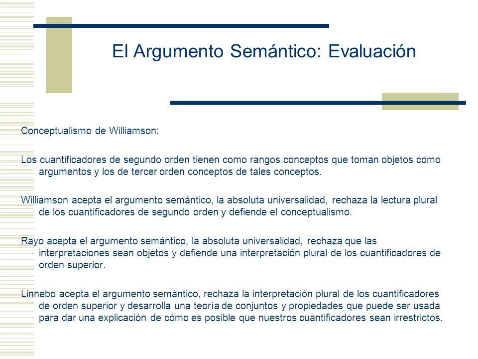 El Argumento Semántico: Evaluación Salidas al argumento Usar lógica de orden superior para rechazar Sem 1.