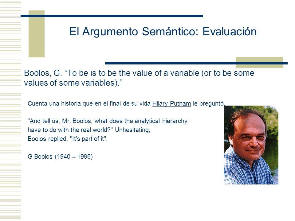 El Argumento Semántico: Evaluación Boolos, G.