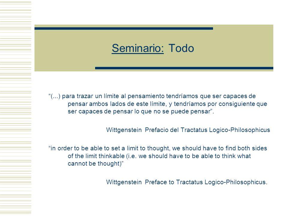 Seminario: Todo (...) para trazar un límite al pensamiento tendríamos que ser capaces de pensar ambos lados de este límite, y tendríamos por consiguiente que ser capaces de pensar lo que no se puede pensar.