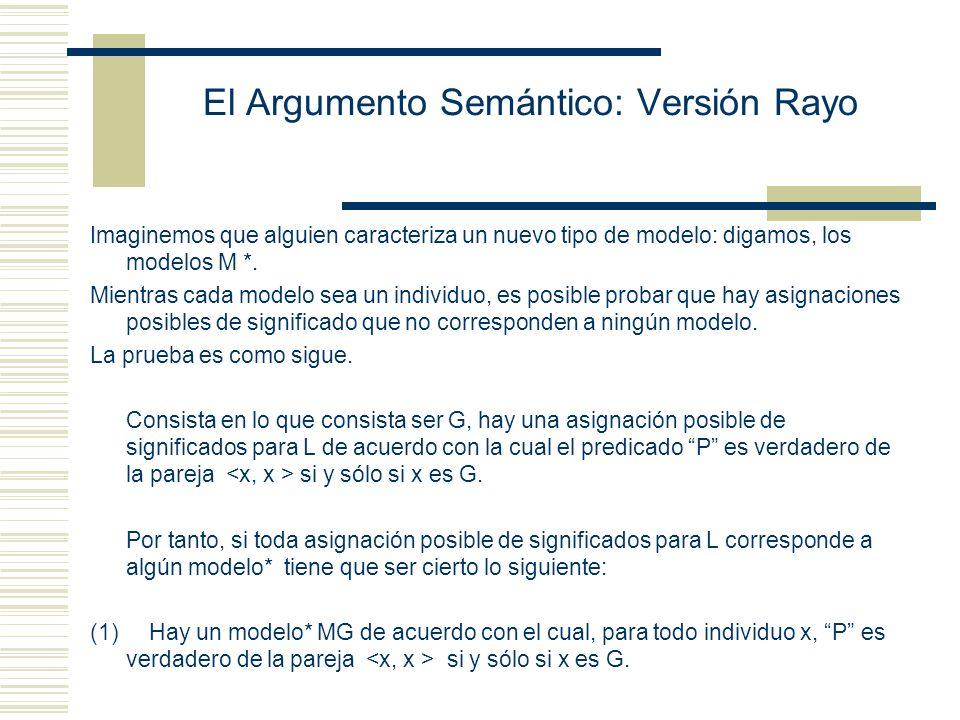 El Argumento Semántico: Versión Rayo Imaginemos que alguien caracteriza un nuevo tipo de modelo: digamos, los modelos M *.