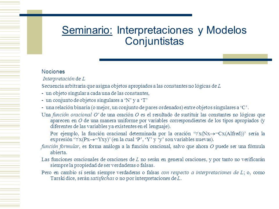 Seminario: Interpretaciones y Modelos Conjuntistas Nociones Interpretación de L Secuencia arbitraria que asigna objetos apropiados a las constantes no lógicas de L - un objeto singular a cada una de las constantes, - un conjunto de objetos singulares a N y a T - una relación binaria (o mejor, un conjunto de pares ordenados) entre objetos singulares a C.