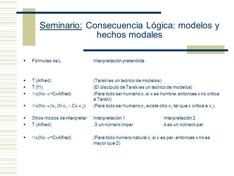 Seminario: Consecuencia Lógica: modelos y hechos modales Elementos metalingüísticos: Las comillas se utilizan como mecanismos para generar nombres.
