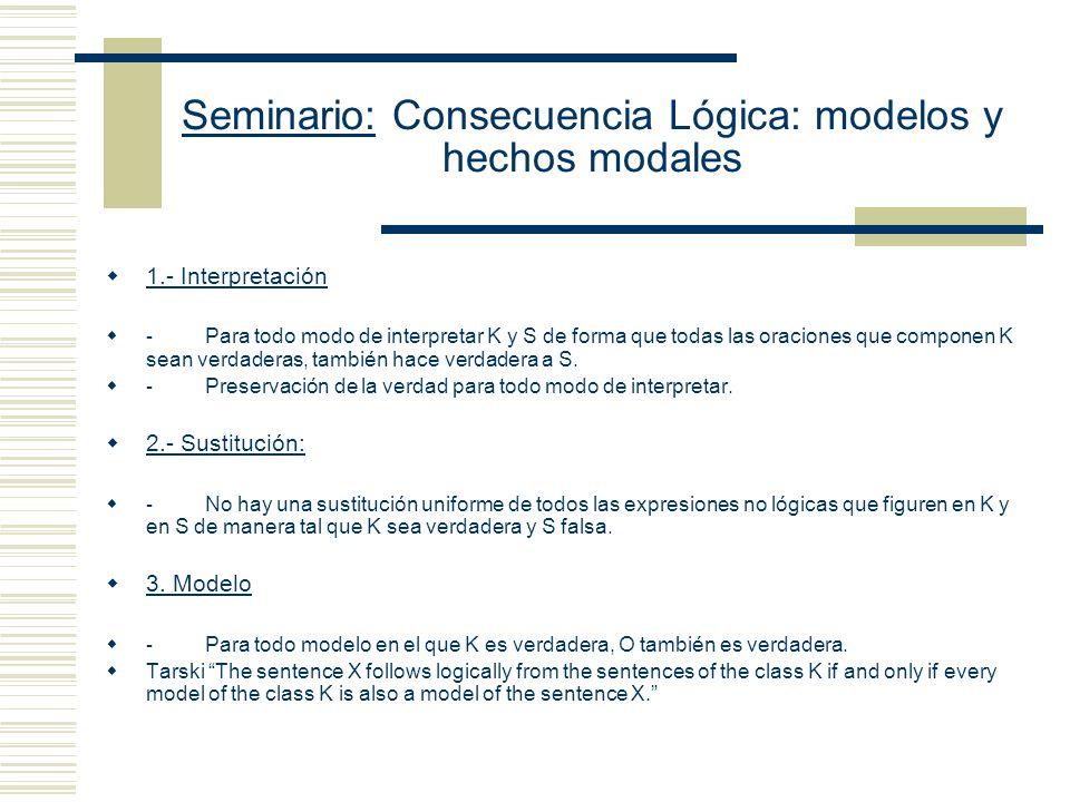 Seminario: Consecuencia Lógica: modelos y hechos modales (E) La relación de consecuencia lógica es una relación formal.