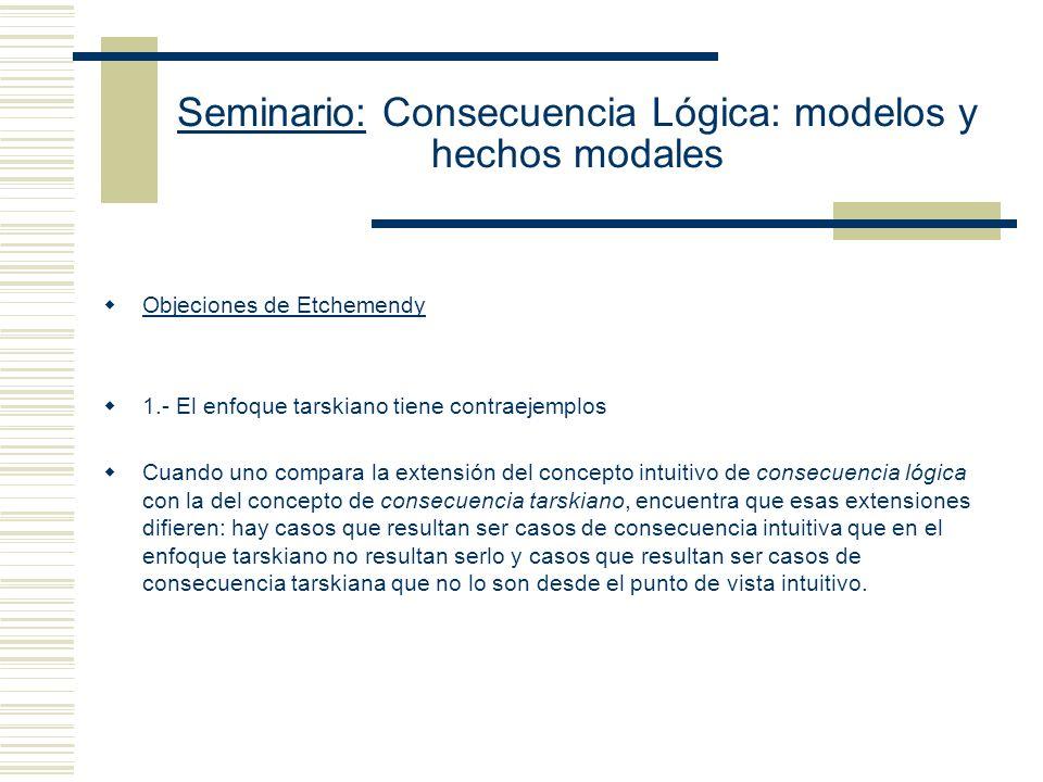 Seminario: Consecuencia Lógica: modelos y hechos modales Implicación Lógica S es una implicación lógica de K sss para toda valuación de M, si [[K]] M = 1, entonces [[S]] M = 1 Equivalencia Lógica S y K son lógicamente equivalentes sss para toda valuación de M, [[K]] M = [[S]] M