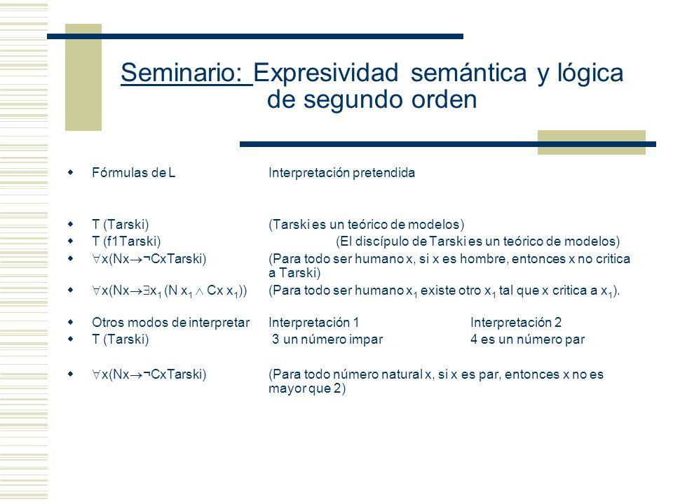 Seminario: Expresividad semántica y lógica de segundo orden Elementos metalingüísticos: Las comillas se utilizan como mecanismos para generar nombres.