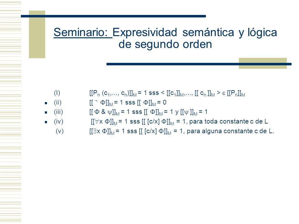 Seminario: Expresividad semántica y lógica de segundo orden Restricción simplificadora: todos los objetos de D tienen nombre Se reduce la verdad en M de x y de x a la verdad en M de [o/x] Sean D: conjunto de entidades I: función que asigna entidades apropiadas de D a las expresiones de L (i) Si c es una constante de L, entonces I(c ) D (ii) Si P es una letra n-aria de L, entonces I(P) D n (si n es 1, su interpretación es un conjunto) [[c/x]] M = reemplace x por o.