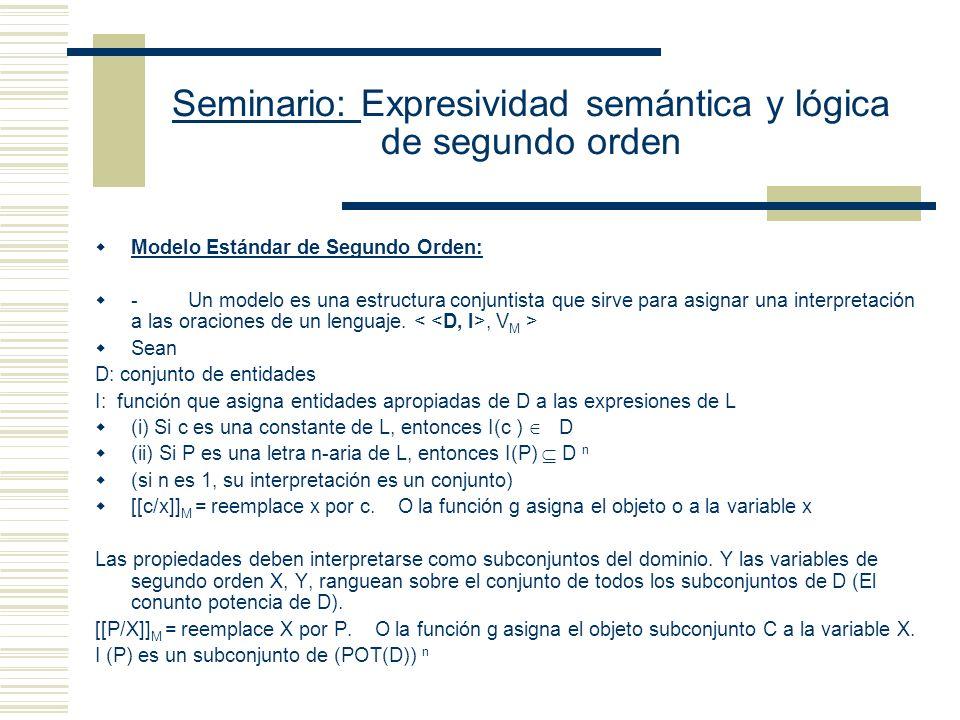 Seminario: Expresividad semántica y lógica de segundo orden Implicación Lógica S es una implicación lógica de K sss para toda valuación de M, si [[K]] M = 1, entonces [[S]] M = 1 Equivalencia Lógica S y K son lógicamente equivalentes sss para toda valuación de M, [[K]] M = [[S]] M