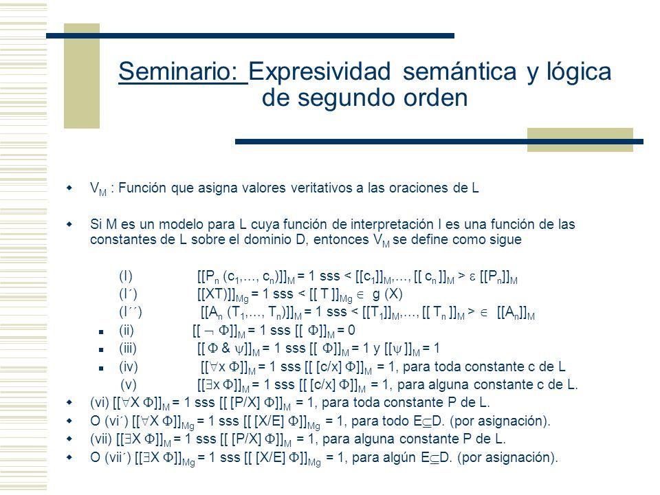 Seminario: Expresividad semántica y lógica de segundo orden Modelo Estándar de Segundo Orden: - Un modelo es una estructura conjuntista que sirve para asignar una interpretación a las oraciones de un lenguaje., V M > Sean D: conjunto de entidades I: función que asigna entidades apropiadas de D a las expresiones de L (i) Si c es una constante de L, entonces I(c ) D (ii) Si P es una letra n-aria de L, entonces I(P) D n (si n es 1, su interpretación es un conjunto) [[c/x]] M = reemplace x por c.