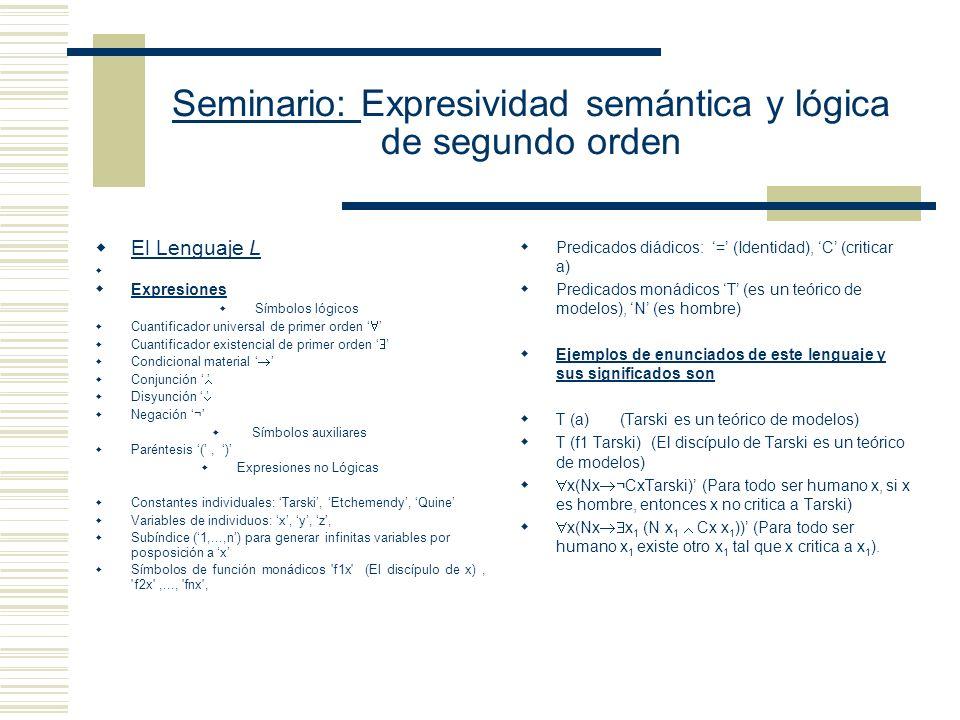 Seminario: Expresividad semántica y lógica de segundo orden Karl Weierstrass (1815-1897) Richard Dedekind (1831-1916) Georg Cantor (1845-1918) Giuseppe Peano (1858-1932)