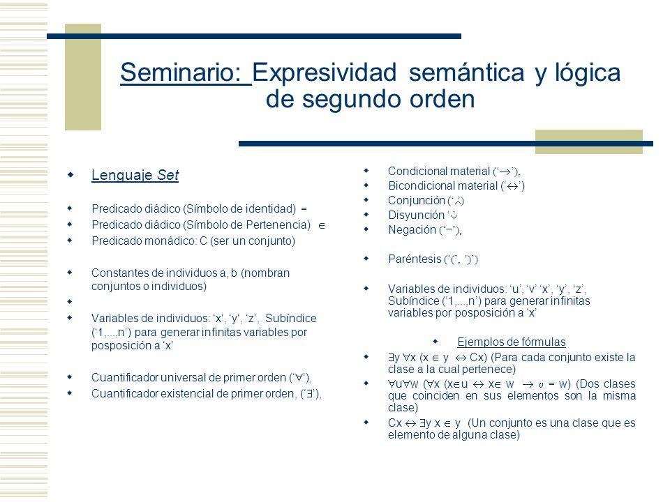 Seminario: Expresividad semántica y lógica de segundo orden Definición de término Las constantes individuales, las variables y el resultado de escribir cualquier función n-ádica seguida por n-términos singulares es un término singular del lenguaje.