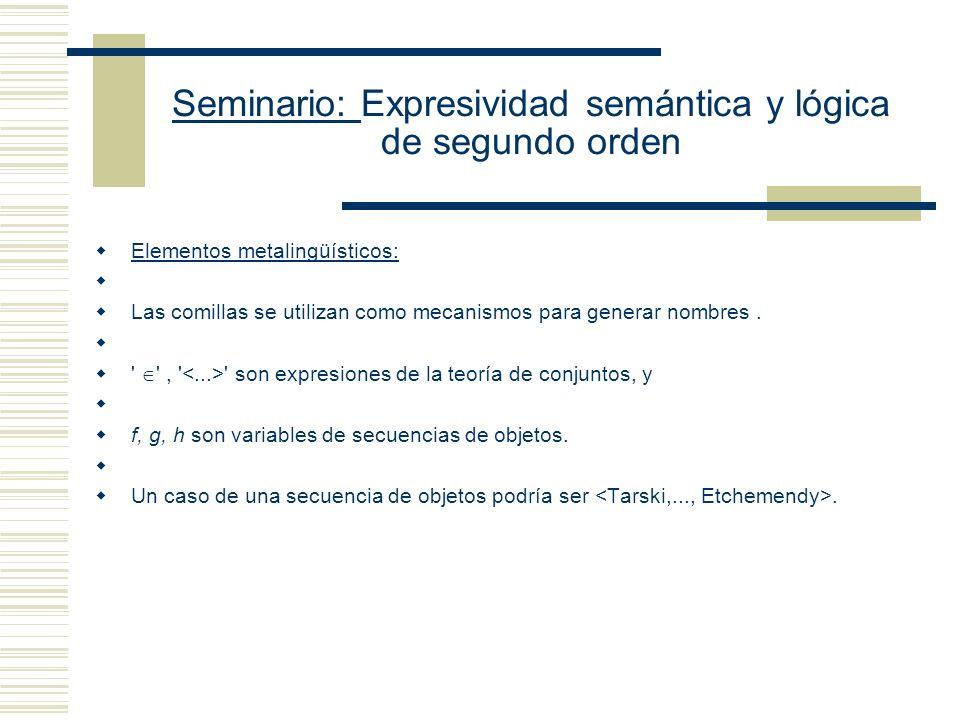 Seminario: Expresividad semántica y lógica de segundo orden Lenguaje Set Predicado diádico (Símbolo de identidad) Predicado diádico (Símbolo de Pertenencia) Predicado monádico: C (ser un conjunto) Constantes de individuos a, b (nombran conjuntos o individuos) Variables de individuos: x, y, z, Subíndice (1,...,n) para generar infinitas variables por posposición a x Cuantificador universal de primer orden ( ), Cuantificador existencial de primer orden, ( ), Condicional material ( ), Bicondicional material ( ) Conjunción ( ) Disyunción Negación (¬), Paréntesis ((, )) Variables de individuos: u, v x, y, z, Subíndice (1,...,n) para generar infinitas variables por posposición a x Ejemplos de fórmulas y x (x y Cx) (Para cada conjunto existe la clase a la cual pertenece) u w ( x (x u x w w) (Dos clases que coinciden en sus elementos son la misma clase) Cx y x y (Un conjunto es una clase que es elemento de alguna clase)