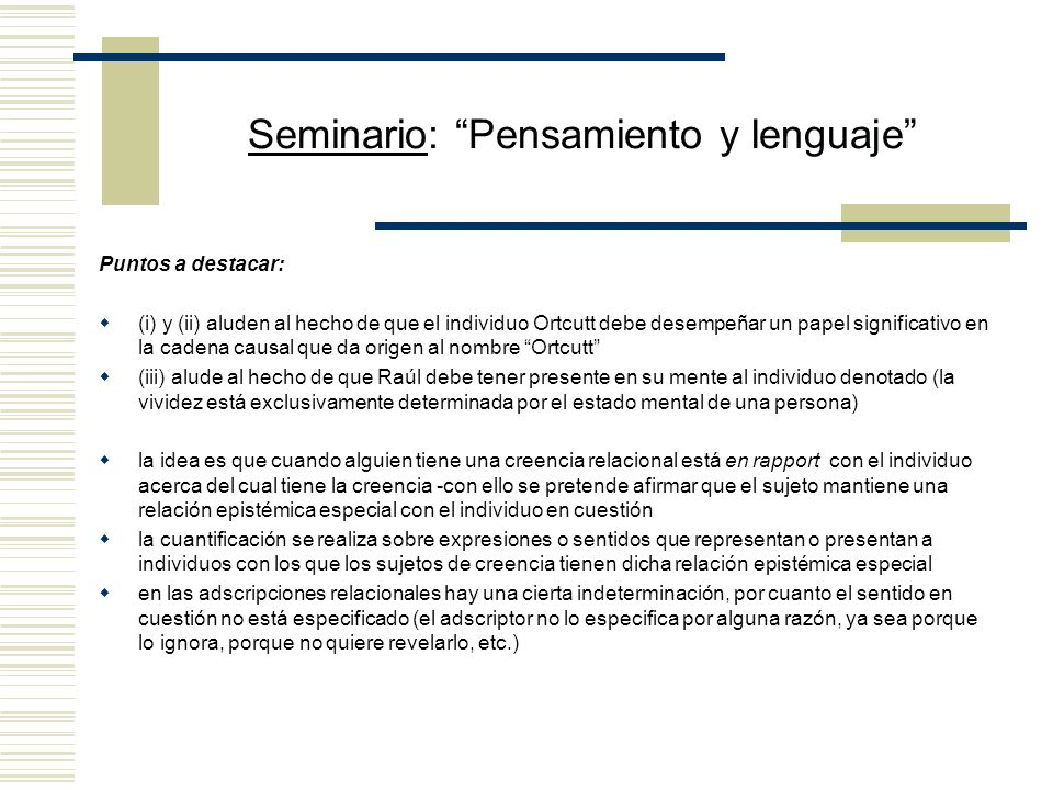 Seminario: Pensamiento y lenguaje IX.