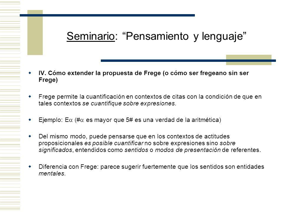 Seminario: Pensamiento y lenguaje IV.