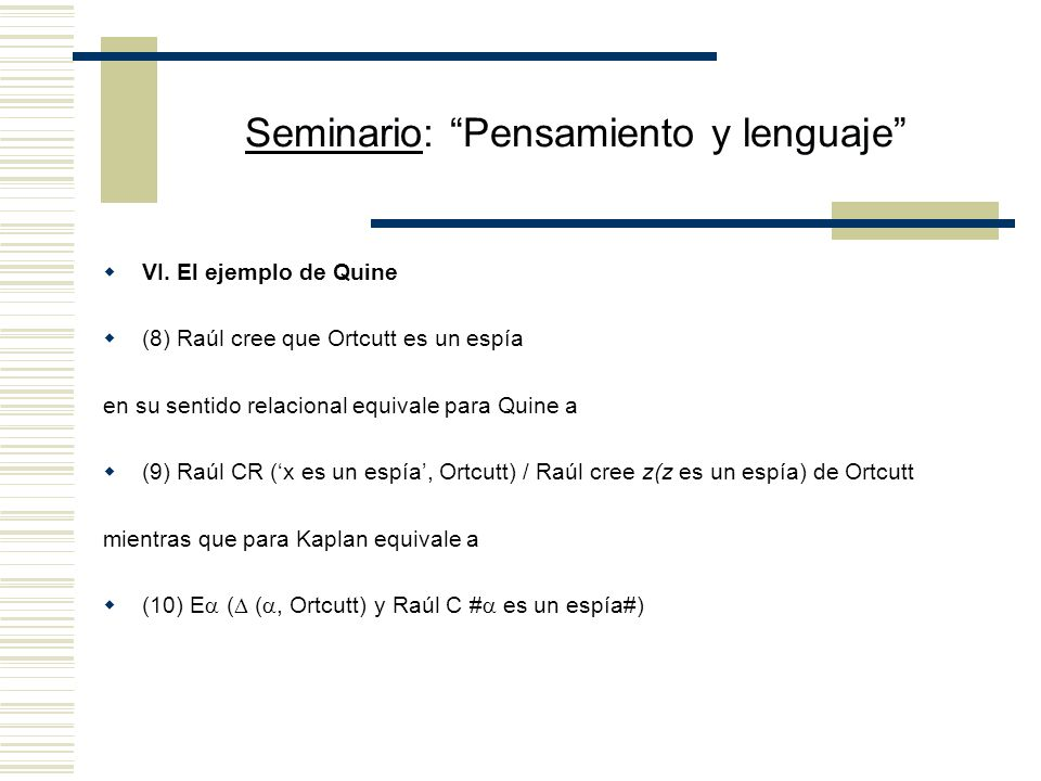 Seminario: Pensamiento y lenguaje V.