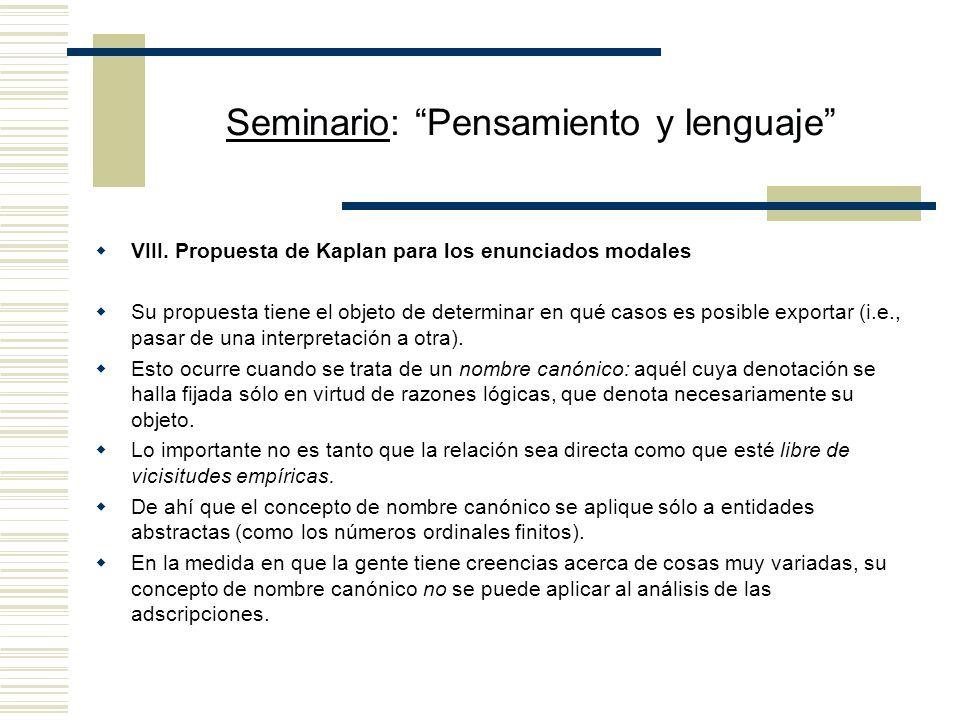 Seminario: Pensamiento y lenguaje VIII.