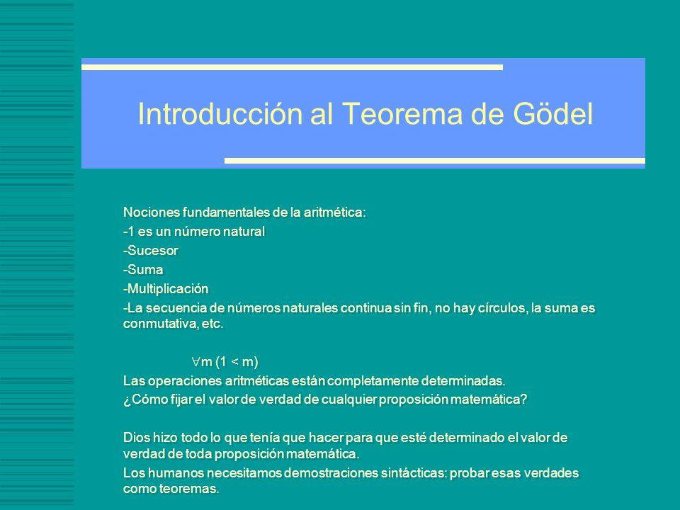 Introducción al Teorema de Gödel Nociones fundamentales de la aritmética: -1 es un número natural -Sucesor -Suma -Multiplicación -La secuencia de números naturales continua sin fin, no hay círculos, la suma es conmutativa, etc.