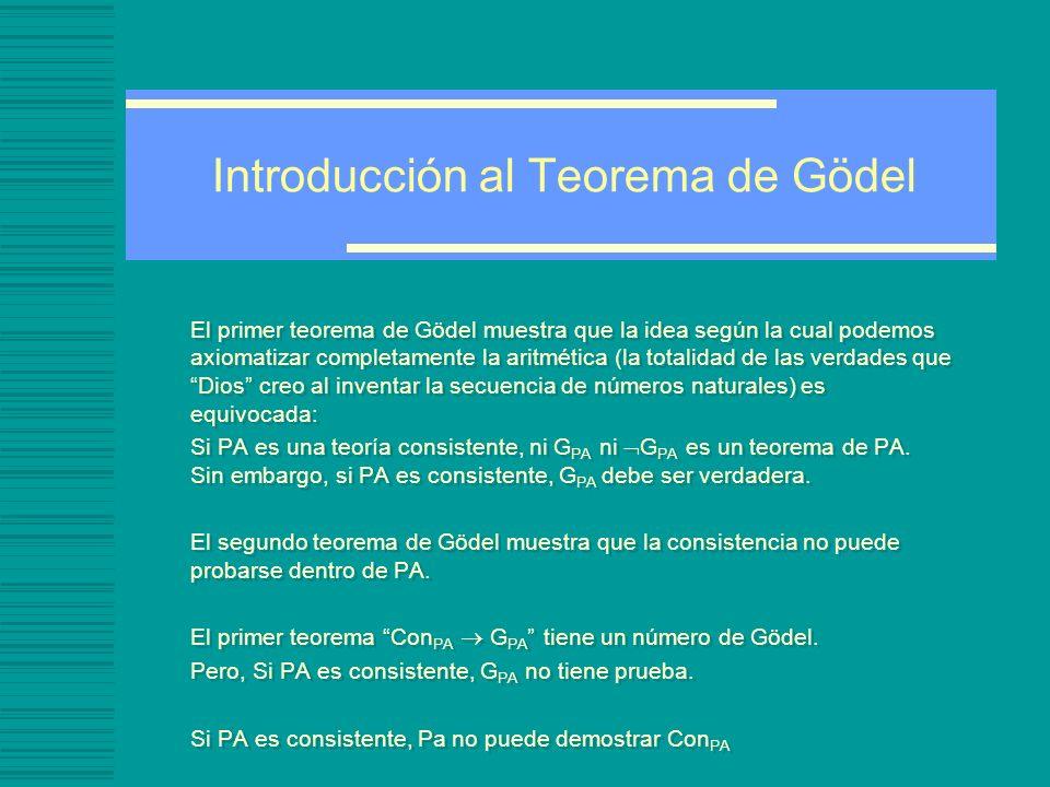 Introducción al Teorema de Gödel Procedimiento Algorítmico: un proceso que una computadora puede ejecutar.