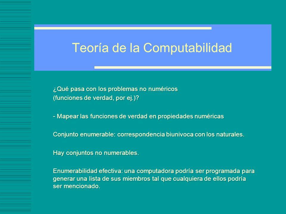 Teoría de la Computabilidad ¿Qué pasa con los problemas no numéricos (funciones de verdad, por ej.).