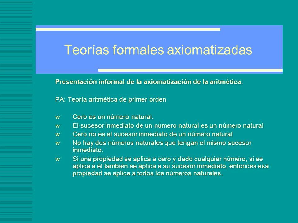 Teorías formales axiomatizadas Presentación informal de la axiomatización de la aritmética: PA: Teoría aritmética de primer orden w Cero es un número natural.