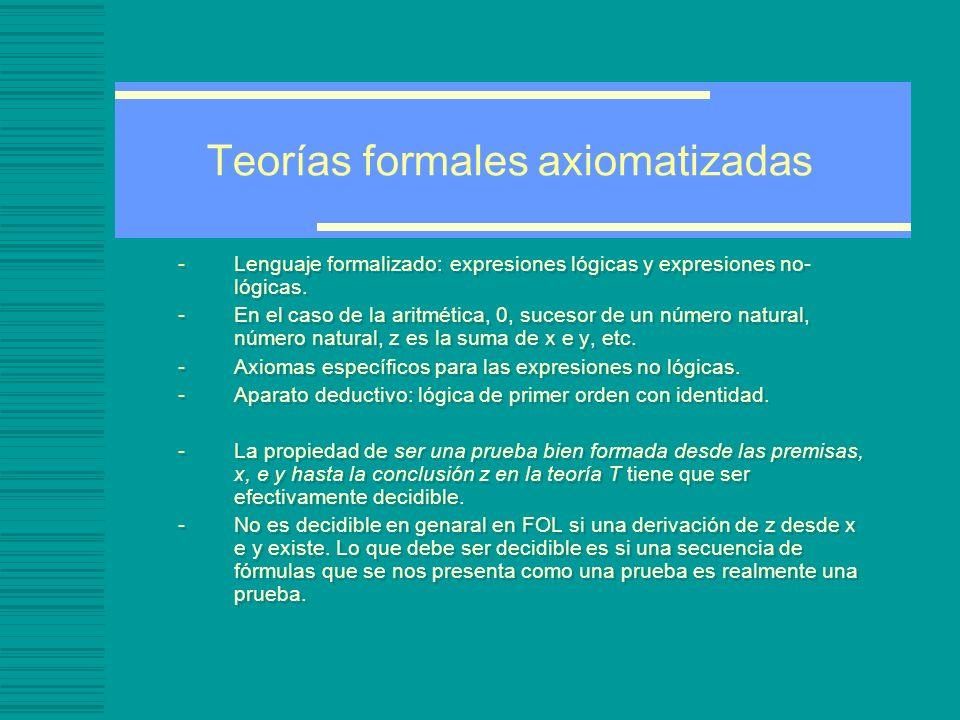 Teorías formales axiomatizadas -Lenguaje formalizado: expresiones lógicas y expresiones no- lógicas.