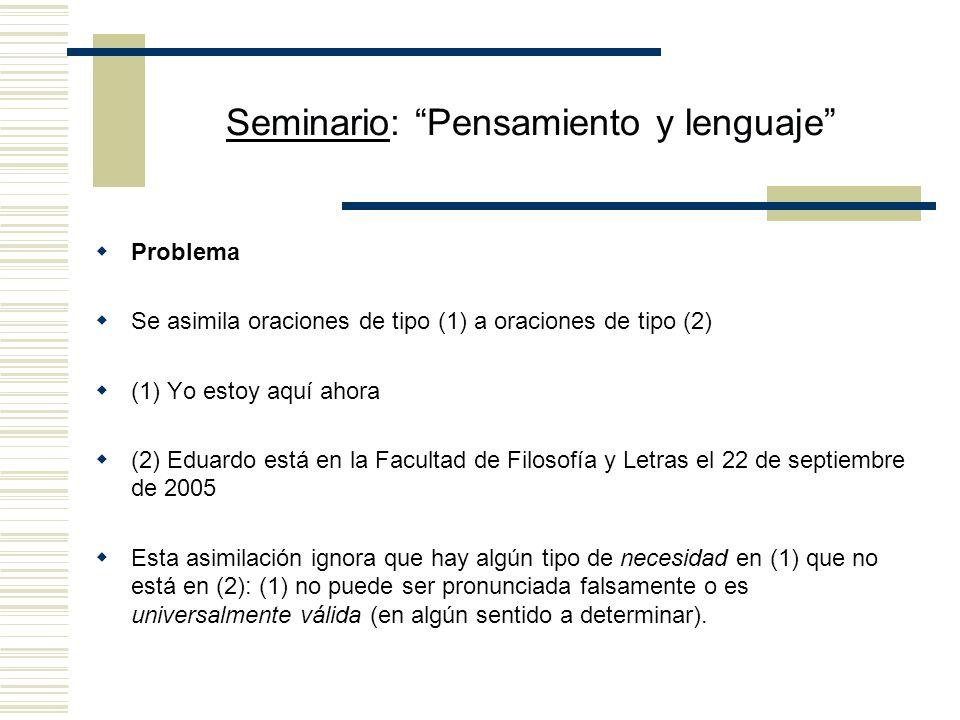 Seminario: Pensamiento y lenguaje Propuesta de la semántica intensional tradicional Toda expresión tiene contenido (intensión) y referencia (extensión