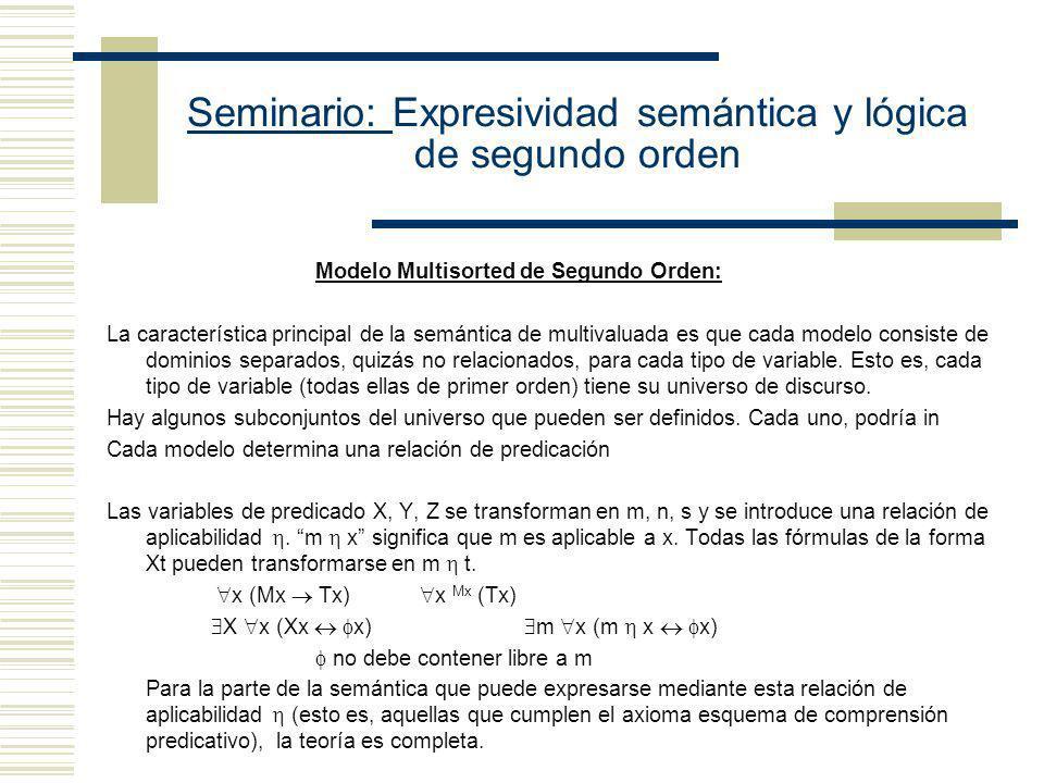 Seminario: Expresividad semántica y lógica de segundo orden Modelo Henkin de Segundo Orden: La característica principal de la semántica de Henkin es q