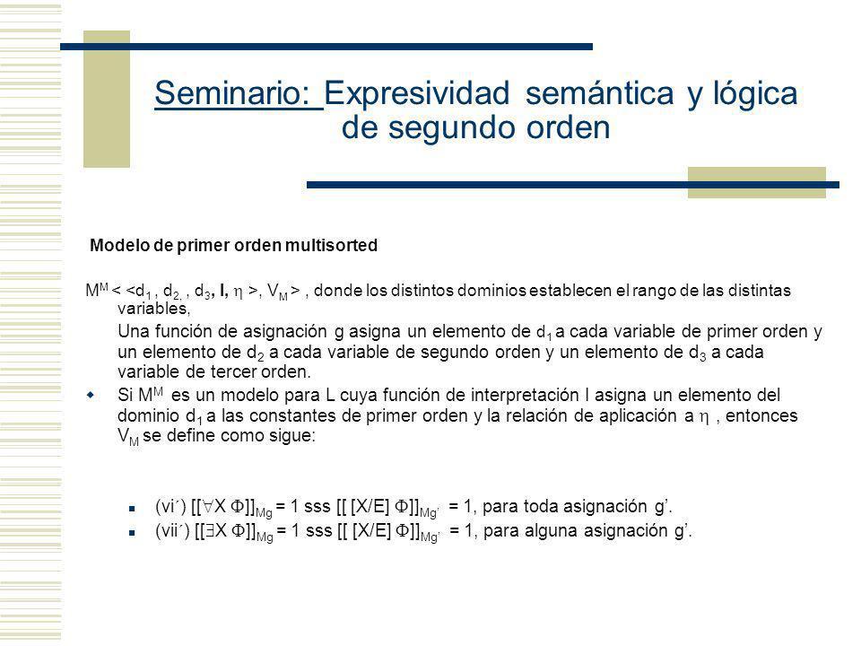 Seminario: Expresividad semántica y lógica de segundo orden Modelo Multisorted de Segundo Orden: La característica principal de la semántica de multiv