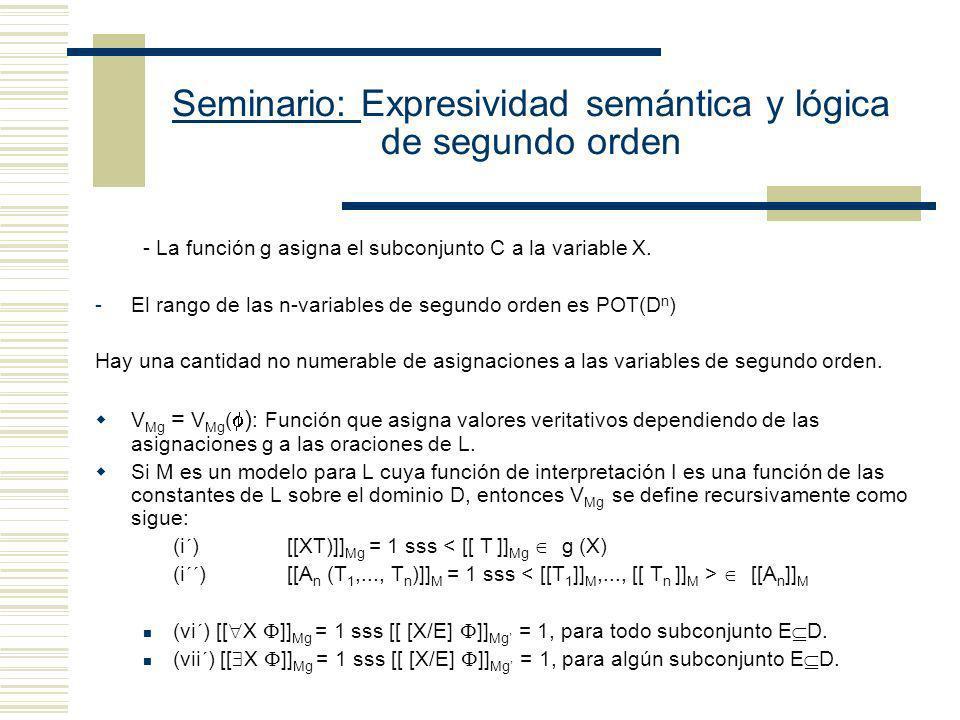 Seminario: Expresividad semántica y lógica de segundo orden Modelo Estándar de Segundo Orden: - Un modelo es una estructura conjuntista que sirve para