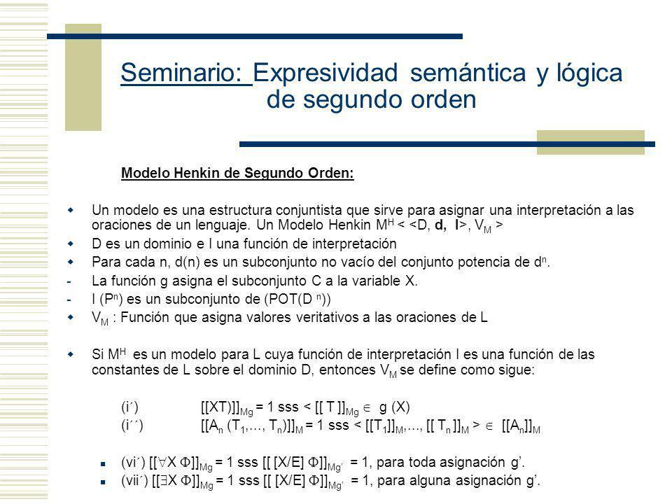 Seminario: Expresividad semántica y lógica de segundo orden Ax1 x ( 0 Sx) Ax2 x y (Sx Sy x y) Ax3 X (X0 & y (Xy SXy) y Xy) Los axiomas de Peano son ve
